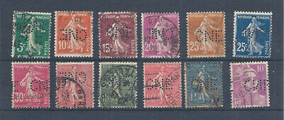 FRANCE Lot Perfos Perfins 12 différents 11 Semeuse 1 Marianne Perf CNE