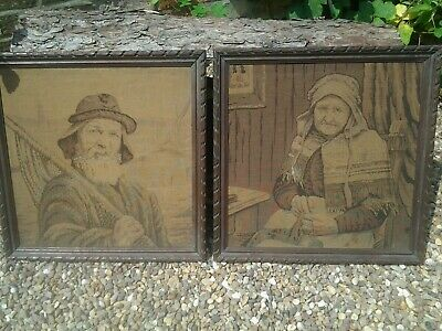 Large Pair Of Antique Tapestries Possibly Dutch In Original Oak Frames.