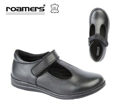 GIRLS T Bar Touch Fastening Black Leather School Shoes  Size 8 9 10 11 12 13 1 2