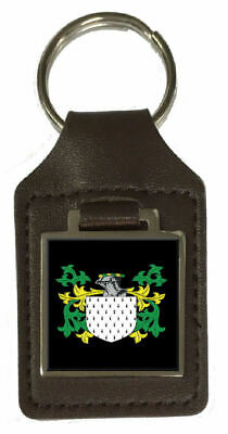 Archer Heraldry Surname Coat Of Arms Brown Leather Keyring Engraved