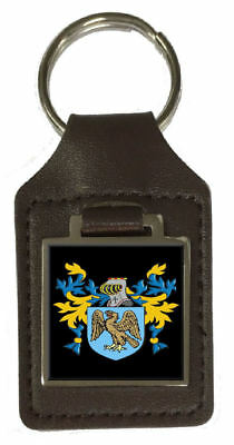 Primmer Family Crest Surname Coat Of Arms Brown Leather Keyring Engraved