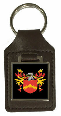 Holley Family Crest Surname Coat Of Arms Brown Leather Keyring Engraved