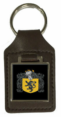 Jenkins Heraldry Surname Coat Of Arms Brown Leather Keyring Engraved