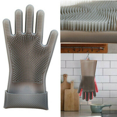 Magic Reusable Silicone Gloves Cleaning Brush Scrubber Gloves Heat Resistant PK