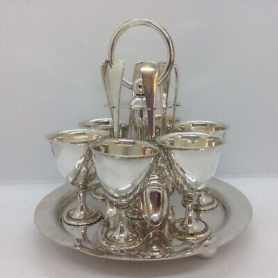 Antique Silver Plated Egg Cup Set