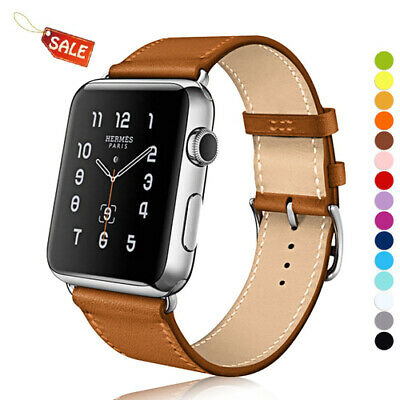 Leather Watch Band Strap Classic Buckle Bracelet For Apple Watch Series 4 3 2 1