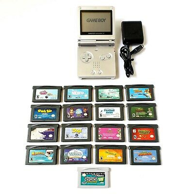 Nintendo Game Boy Advance SP Silver Handheld System Bundle Lot w/ 16 Games