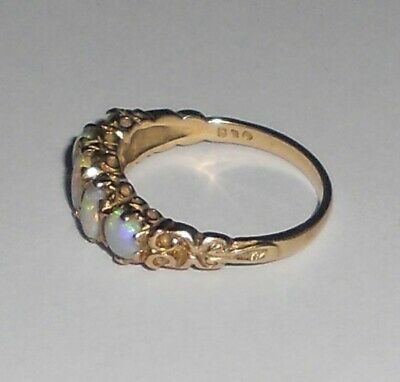 18ct Solid Yellow Gold Antique 5 Stone Opal Ring - Victorian / Edwardian? 17mm