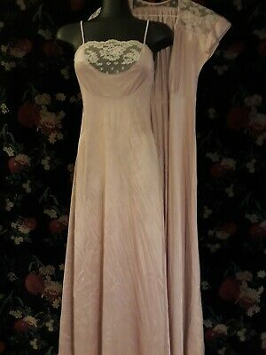 Vintage 80s Long Dusty Pink Nylon and Lace Negligee Nightie and Robe  Size 12