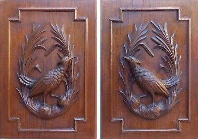 """PAIR Antique 25"""" Hand Carved Architectural Furniture Doors Panels Hunt Bird 19th"""