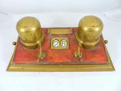 LARGE Antique French Brass Inkwell 1920 Desk - Rare Change the Date - Office