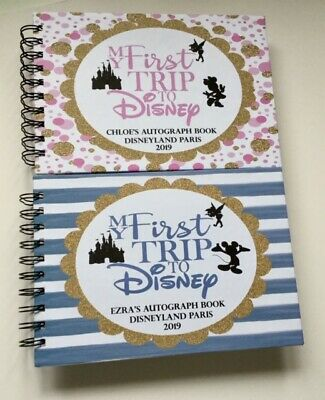 Personalised Disney Autograph Book PINK MINNIE or BLUE MICKEY CASTLE-A5 HARDBACK