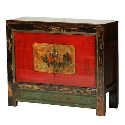Vintage Cabinet from Gansu with Peonies