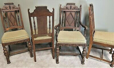 4 Antique c 1920's Jacobean Gothic Revival Hand Carved Feudal Oak Dining Chairs