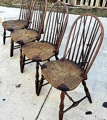 Set of 4 Antique W A HATHAWAY of NY Windsor Fiddle Back Rush Seat Dining Chairs