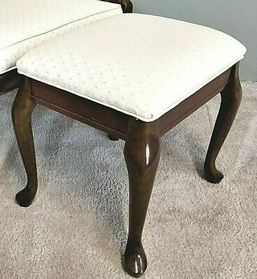 Lovely Vintage Country French Tufted Cane Upholstered Accent Armchair w Ottoman