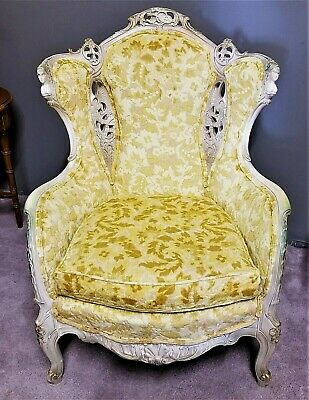 EUC! Antique French Louis XV Rococo Hand Carved Burnout Velvet Wing Back Chair
