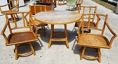 Vtg FICKS REED 5 Pc Mid Century Modern Bamboo Rattan Dining Set Table & 4 Chairs