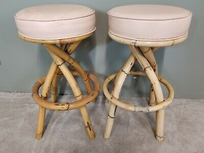 2  BRADSTON RATTAN Mid Century Modern Bamboo Bentwood Swivel Counter Bar Stools