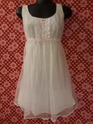 Vintage 60s Babydoll White Nylon Negligee Nightie with Lace, Pink Ribbon Size 16