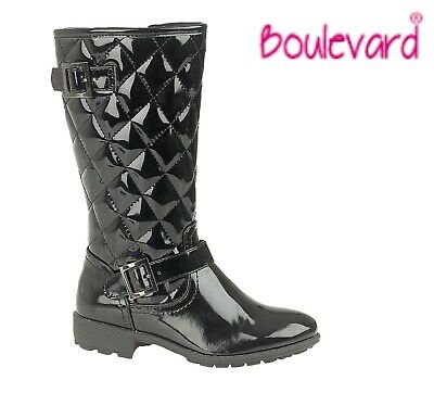 SALE GIRLS Buckle Quilt Zip Fastening Black Patent Boots  Size 10 11 12 13 1 2 3