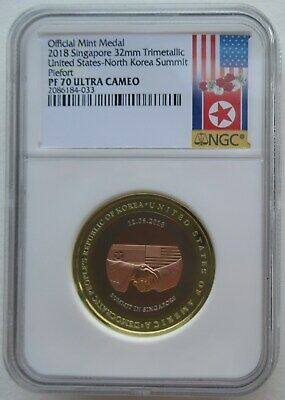 NGC PF70 Singapore 2018 United States Korea Summit Piefort Trimet Medal COA