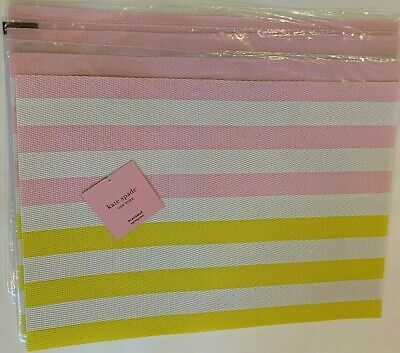 "Kate Spade New York """" Set of 4 placemats,striped multi- color,yellow,pink, poly"