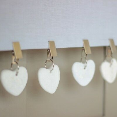 Set of 4 Clip On White Love Heart Shape Stone Dinner Party Tablecloth Weights