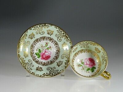 Windsor China Green and Gold with Pink Roses Tea Cup and Saucer, England c.1960