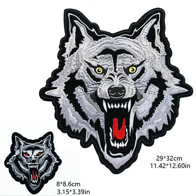 Wolf Head Embroidery Sew On Iron On Patch Clothes Applique Fabric Emblem Armband