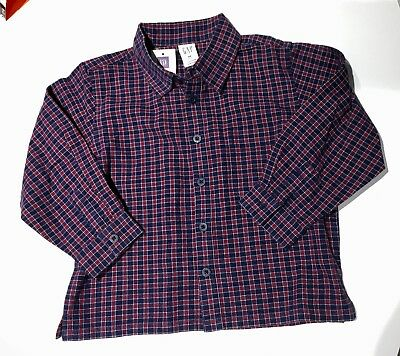 BABY GAP Button Down Shirt L/S Navy Blue Red Plaid 4T Toddler Boys NWT Flannel