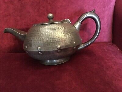 Abbey Hand Hammered And Hand Riveted Pewter Teapot, Osborne Co Sheffield C1910