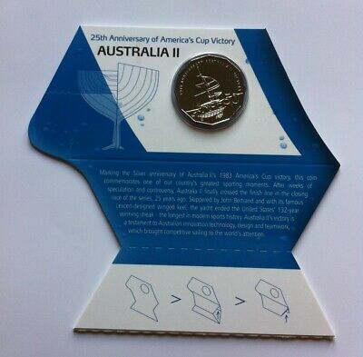 2008 FIFTY CENT /'25TH ANNIVERSARY OF AMERICA/'S CUP VICTORY/' CARDED COIN