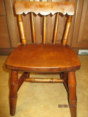 Rare Vintage Signed Stickley Wood Wooden Child's Dining Chair, Seat