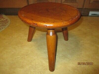 Rare Vintage Signed Stickley American Wooden Milking, 3-Legged Child's Stool
