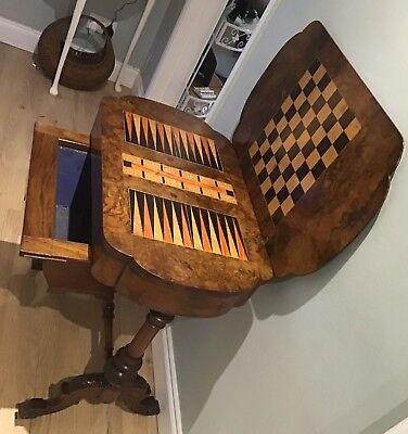 Antique Inlaid Burr Walnut Games/Sewing Table