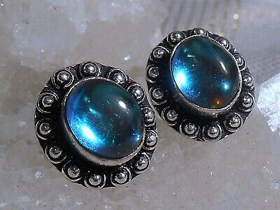 DARK MOON MYSTIC TOPAZ STUDS 925 STERLING SILVER OVERLAY EARRINGS Gift