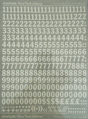 CHARTPAK DRY TRANSFER NUMBERS (White) FRANKLIN GOTHIC COND. 48pt #M1148N