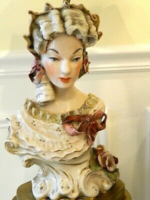 Antique French Capodimonte Style Pair Lamps Porcelain Figurines Night Stands