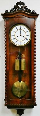 Antique Twin Weight Vienna Wall Clock 8 Day Striking Slim Biedermeier Wall Clock
