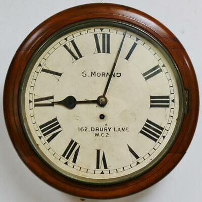 Antique London 8 Day Mahogany Single Fusee Dial Wall Clock Station Kitchen Clock