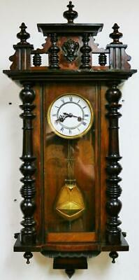 Antique German Gustav Becker 8 Day Striking Carved Mahogany Vienna Wall Clock