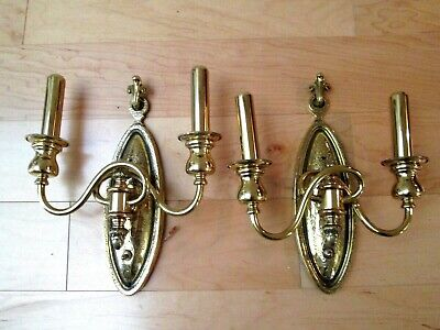 Pair of Early 1900's HEAVY Solid Brass Antique Wall Sconces Federal Americana