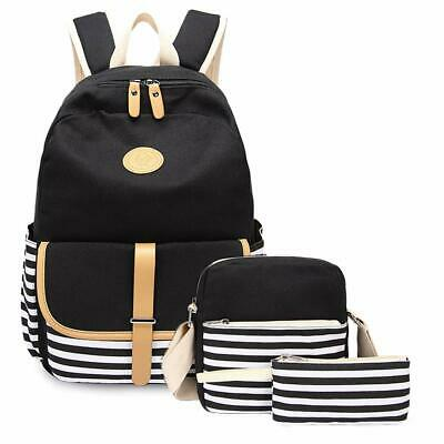 Lmeison Teens Girls Backpack Canvas School Backpack Set Striped Student Bookbag