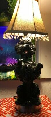 Black Poodle Lamp Antigue Poodle Statue Repuposed Into Lamp With Balancing Shade