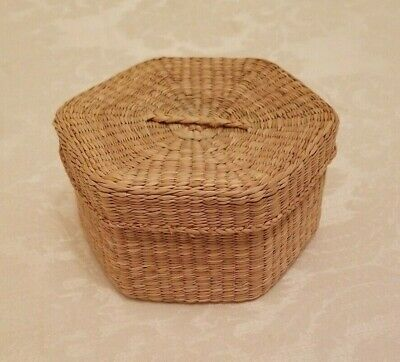 Vintage Hand-Woven Sweet Grass Hexagon Basket and Lid, Native
