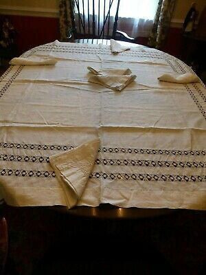 ANTIQUE TABLECLOTH & NAPKINS - DRAWN THREAD WORK DECORATION 58 x 59