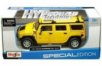 Maisto 1:27 Special Edition 2003 Hummer H2 Suv Die-Cast Yellow 31231