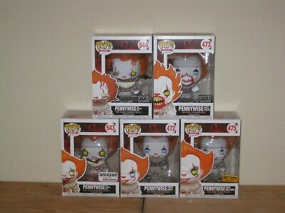NIB Pennywise Funko Pop! IT Movie Lot of 5 FYE Hot Topic Amazon 473 475 543 544