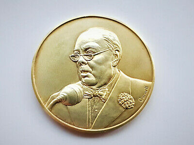 Vintage Sterling Silver Gold 24Ct Plate Medal Winston Churchill